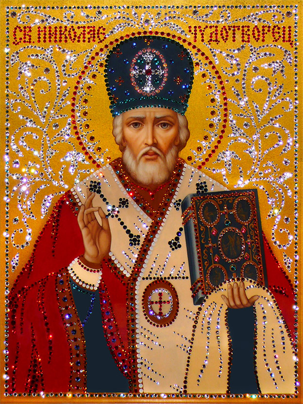 открытка икона зимнего святителя николая мягкий