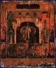 Икона Воздвижение креста, со святыми на полях  17 век